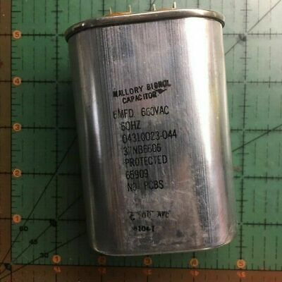 6uF 660vac Mallory Motor Run Capacitor 37NB6606 AC Pump 660v 60Hz Industrial