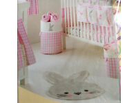 MatchingGirls Nursery Nappy Stacker, 2 Storage Bins and Cute Bunny RUG Brand new Will post