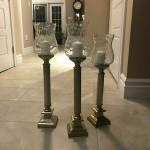 "Home Decor 3 Sets of Three ( 24"",20',16') Large Candle Holders"