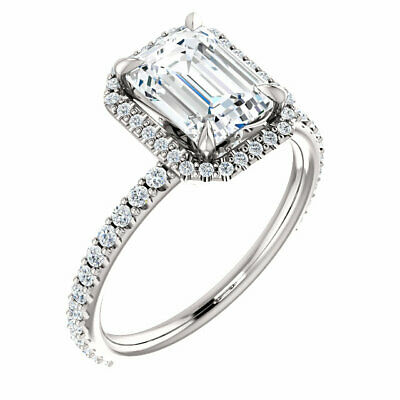 1.62 Ct. U-Pave Setting Emerald Cut Halo Diamond Engagement Ring D,VS2 GIA 14KW 6