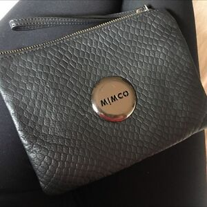 Mimco quilted Matt black medium pouch Gunmetal grey clutch Ferntree Gully Knox Area Preview