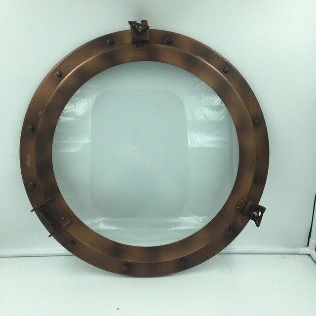 """Nautical 15"""" Antique Bronze Finish Iron Porthole with Glass, Ship Cabin Window"""
