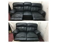 Black leather 3/2 Seater manual recliner sofas