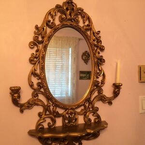 Gold Mirror with Candle Holders and Shelf
