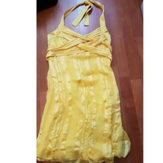 Fresh Look Canary Yellow Silk Halter Dress Size 12