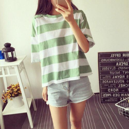 Korean Fashion Womens Short Sleeve Loose Blouse Casual Summer Tops XL