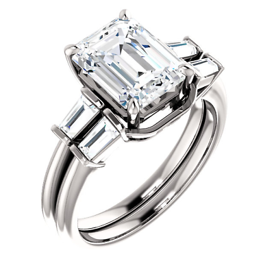 Platinum 3.10 Ct Emerald Cut & Baguette Diamond Engagement Ring Set  F VS2 GIA