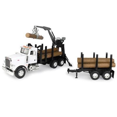 1 16 Big Farm Peterbilt Model 367 Log Truck With Pup Trailer And Logs   Lp68215