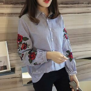 Blue striped dress shirt with floral rose embroidery sleeves