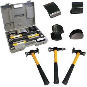 7 PC CAR AUTO BODY PANEL REPAIR TOOL KIT WITH FIRBEGLASS HANDLES BEATING HAMMERS