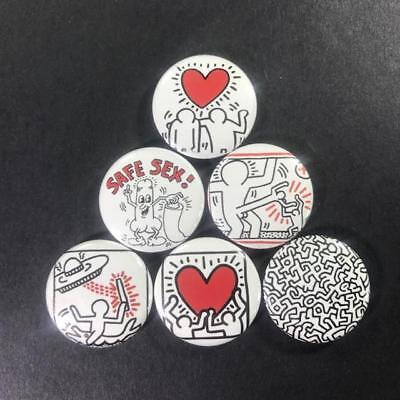 "Keith Haring 1"" Button Pin (6 piece) set New York Street Artist Pop Art"