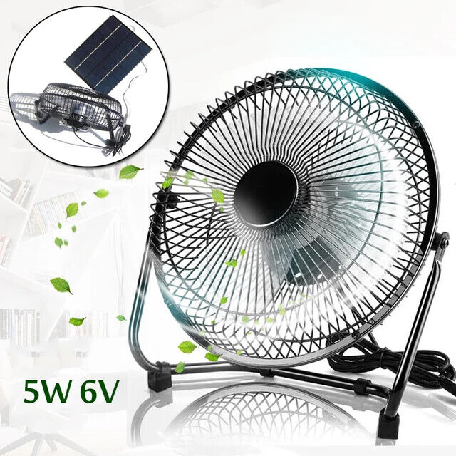 USB Mini Fan Solar Panel Powered Outdoor Camping Cooling Ventilation Portable US