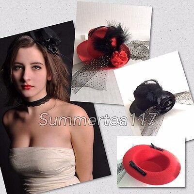 Fashion Women Mini Rose Top Hat Hair Clip-On Feather Party Favor Burlesque  G399](Top Hat Favors)