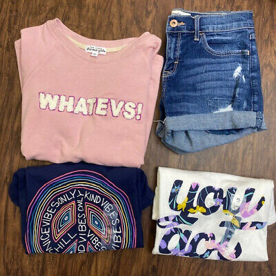 Girls Size XL 14-16 Summer Clothing Lot - 2 tees, denim shorts & 3/4 Top