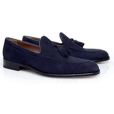 Stemar Men's Venezia Suede Tassel Loafers Navy - Size 6 USA *New in Box*