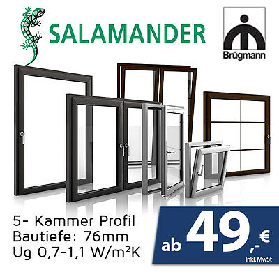 Fenster 50cm x 50cm  Dreh kipp Fenster - Profil 76mm Salamander - Werkpreise
