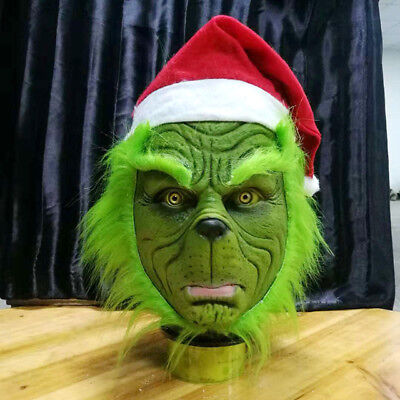 US! Grinch Stole Christmas Latex Mask With Long Hair Xmas Hat Helmet Party Props - Mask Party