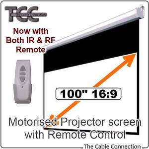 """100"""" Motorised 16:9 projector screen with RF & IR Remote 50% OFF Mulgrave Monash Area Preview"""