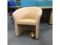 Beige Vinyl Tub Chair