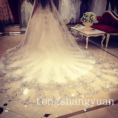 Long Veils With Crystals (Ivory White Crystals Bridal Cathedral Length Wedding Veils With Comb Long 1 T)