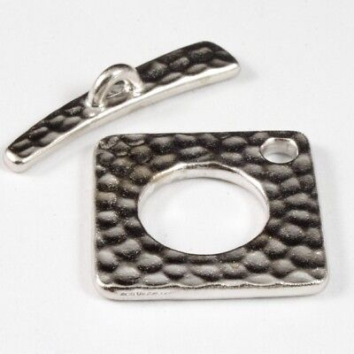 - 18mm Rhodium Hammered Square Toggle Clasp #CK171