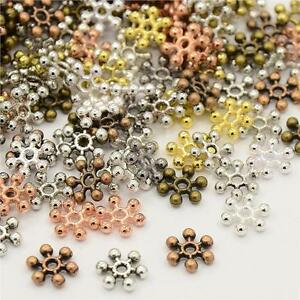 100 per bag 8mm SNOWFLAKE SPACER BEADS MIXED COLOURS