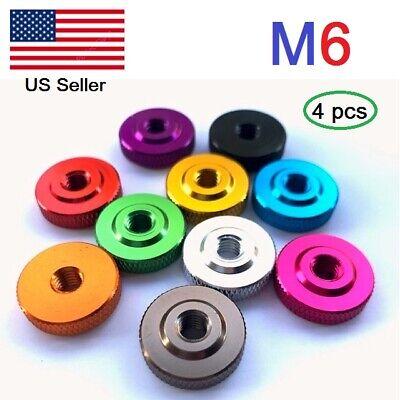 M6  Aluminum  Knurled Thumb Nut Hand Thread Nuts metric (Packof 4) Aluminum Metric Nuts
