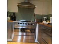 Brandt dual fuel range stainless steel cooker & extractor hood. 2 oven 5 ring. 100cm width