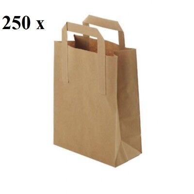 Pure Kraft Brown Paper Carrier Bag SOS Bag Food Carrier Bag Medium Takeaway Bag