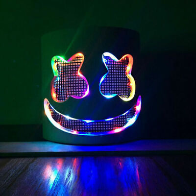 Halloween DIY Marshmello Helmet LED Handmade Full Head Mello Mask for Kids