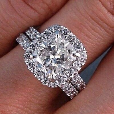 2.70ctw Bridal Wedding Set Cushion Cut Halo Pave Natural Diamond Ring - GIA