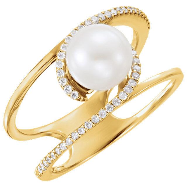 1860fac6ac4f Oro En Agua Ctw 14k Perla Dulceamp  Anillo Cultivada 18 Diamante GUMVqSzp