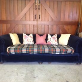 Chesterfield-style extra-large blue velvet sofa