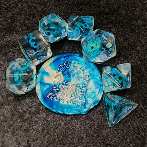 Sage's Cantrips - Resin Blue Flowers Polyhedral Dice Set RPG Dungeons Dragons