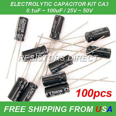 100pcs 10 Value Electrolytic Capacitor Kit Assortment 0.1100uf 2550v Ca3