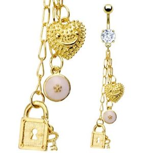 Gold-Plated-Prong-Set-CZ-Belly-Bar-Navel-Ring-c-w-Dangle-Charms