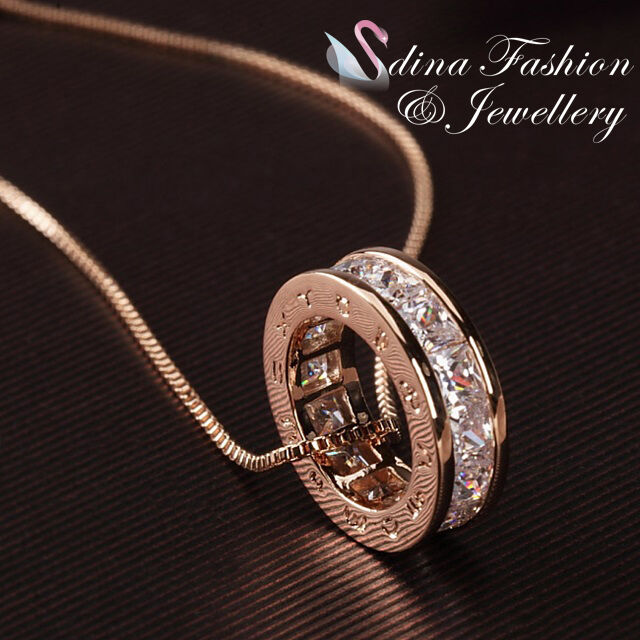 18K Rose Gold Plated Simulated Diamond Extra Sparkling Channel-Set Ring Necklace