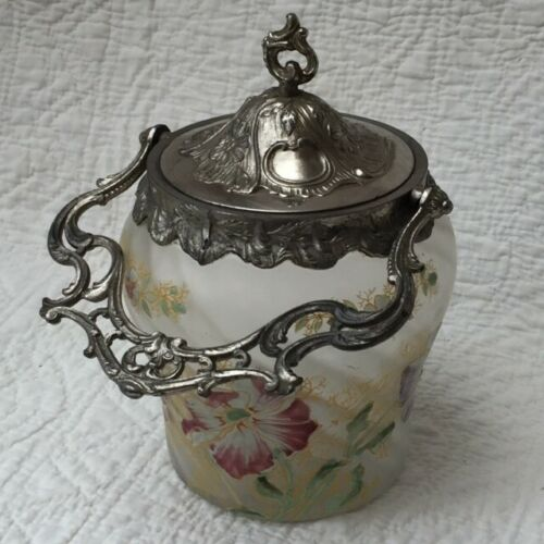 Antique FRENCH 1880 Frosted Glass Enamel CANDY COOKIE JAR / PAIL SEAU à BISCUITS
