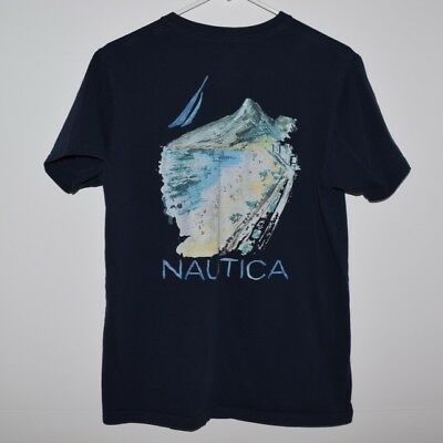 Nautica Men's Graphic V Neck Tee T Shirt Navy Blue Size Medium