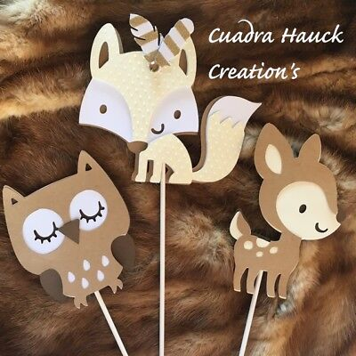 Fox centerpieces stick/ Woodland baby shower/ Woodland theme/ Deer/ Fox/ Owl