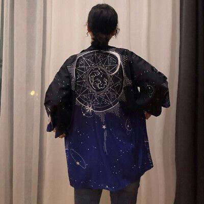 Japanese Starry Sky Anime Cosplay Loose Kimono Haori Yukata Bathrobe Coat Tops