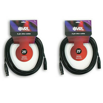 2 VRL 3 PIN 25' ft DMX PRO STAGE LIGHTING SHIELDED CABLE - MALE TO FEMALE