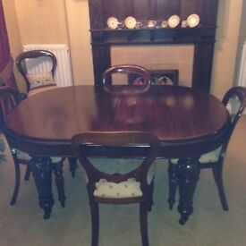 Victorian D-end extendable mahogany table & 6 dutch style balloon back mahogany dining chairs