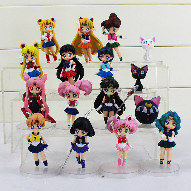 16Pcs/Set PVC Figures Anime Sailor Moon Mars Mercury Jupiter Venus Chibi Toy 8cm