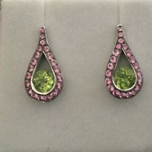 Rox Pink Sapphire and Peridot drop earrings 18ct white gold Sydney City Inner Sydney Preview