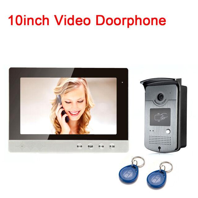 "10"" Large Screen Video Door Phone Intercom+ RFID Card Camera+ ID Cards for Villa"