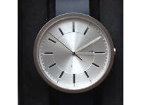 'Uniform Wares' M40, British, Men's Date Watch in Brushed Steel, with Blue Nitrile Rubber Strap