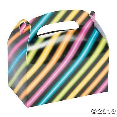 12 Neon Glow Party Treat Boxes loot favor bag 80's 90's Black Light Dance](80s Parties)