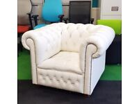 White Leather Chesterfield Style Armchair