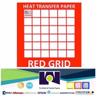 Red Grid Ink Jet Heat Transfer Paper For Light Colors Fabrics 20 Sh Pk 8.5x11